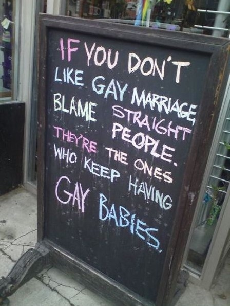 If you don't like gay marriage, blame straight people. They're the one's who keep having gay babies.