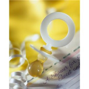 White Pacifier and Baby Shower Invitation