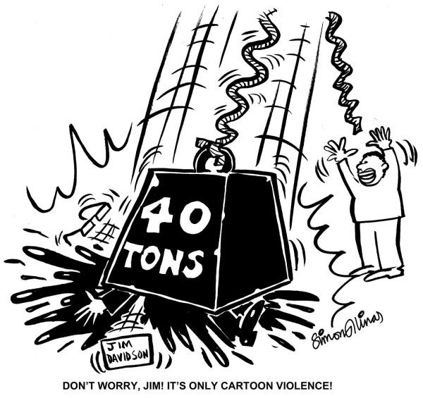 Cartoon about Jim Davidson by Cartoonist in London Simon Ellinas