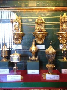Containers (reliquaries) with bits of holy people