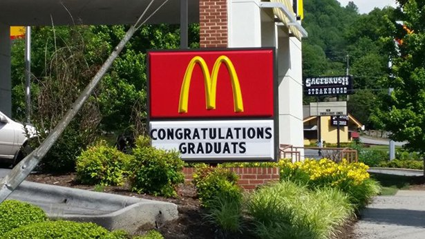 Congratulations from the world's largest chain of hamburger, fast food restaurants.