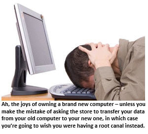 joy of a new computer - frustrated man