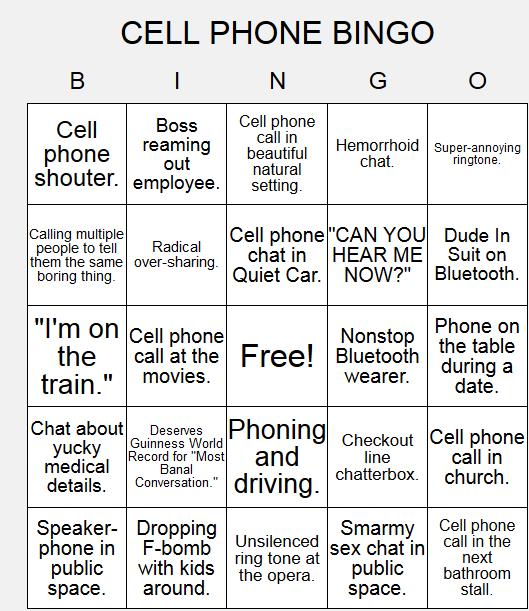 Mobile Phone Bingo