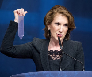 Presidential Republican Candidate Carly Fiorina at the town hall meeting in Nebraska questioning treads on a condom. Photo: Condom Company Alliance Of America.