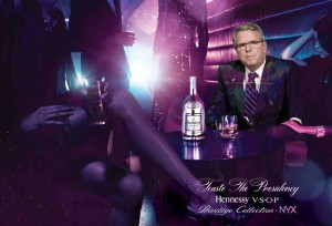 Former Florida Governor Jeb Bush and Hennessy unveiling the first adverts, signaling his endorsement with Hennessy. Photo: Hennessy.