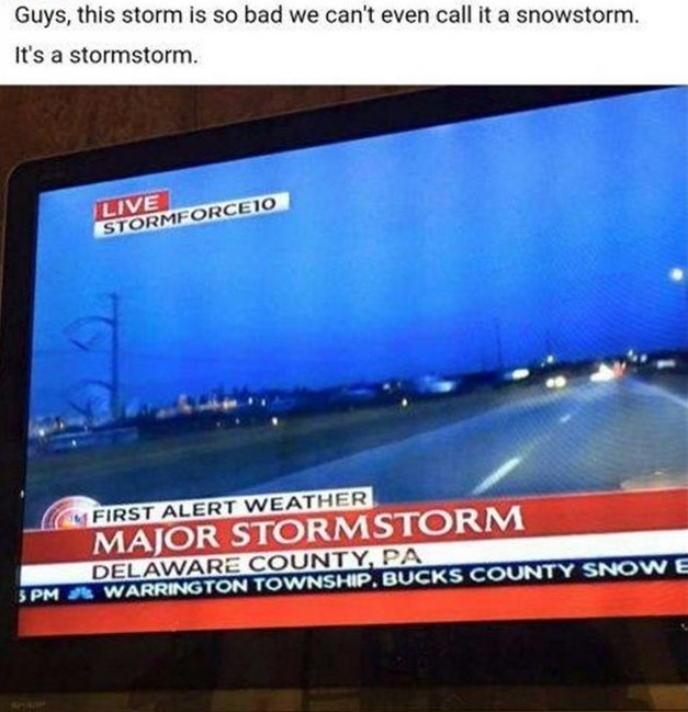 Stormstorm – A violent disturbance of the atmosphere with strong winds and usually rain, thunder, lightning, or snow x2.