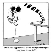 A hearing aid-dog cartoon